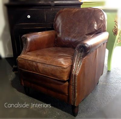 Havana Aged Leather Armchair Canalside Interiors