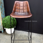 Linetti Leather Bar Stool with Square Stitching