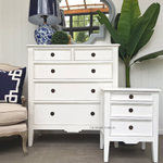 Peninsula 5 Drawer Chest and Peninsula Bedside