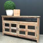 Adrift Rustic Coastal TV Unit/Sideboard with Glass Doors