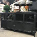 Foundry 4 Door Industrial TV Sideboard with Upper Glass Doors