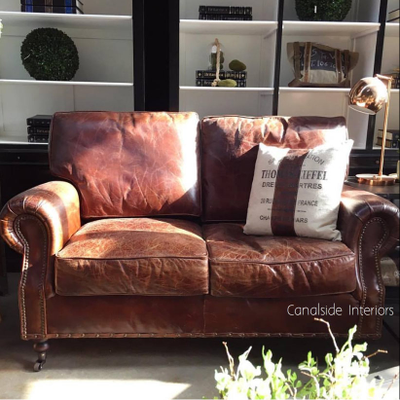 Sir William Aged Leather 2 Seater Sofa