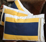 Yellow and Blue striped Nautical Cushion