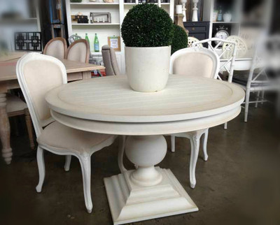 Porter round dining table distressed white sold out for Distressed white dining table