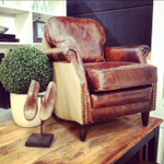 Kennedy Aged Leather and Hessian Linen Style Armchair