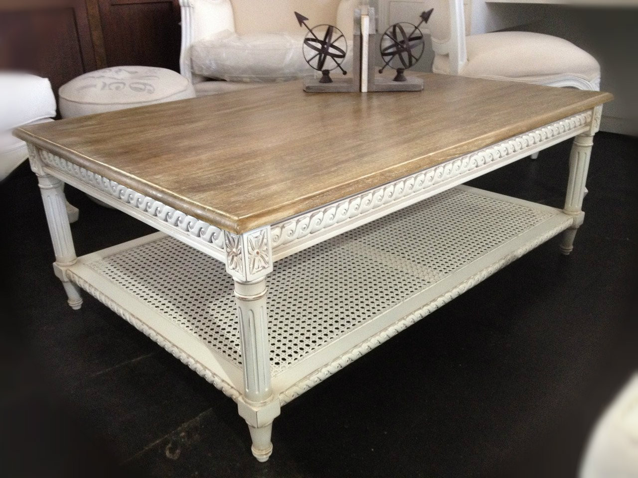 Hamptons Rattan Coffee Table Distressed White With