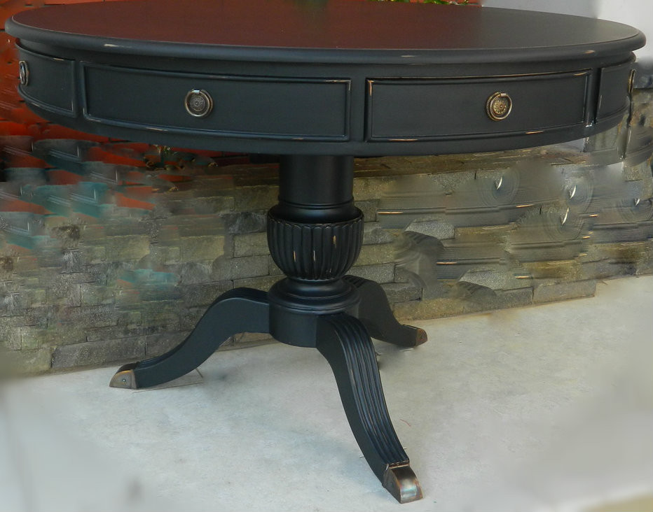 cobble hill round dining table distressed black matt sold out canalside interiors. Black Bedroom Furniture Sets. Home Design Ideas