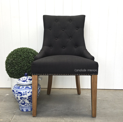 *Bennet Button Back Upholstered Dining Chair   Black / Charcoal   IN STOCK