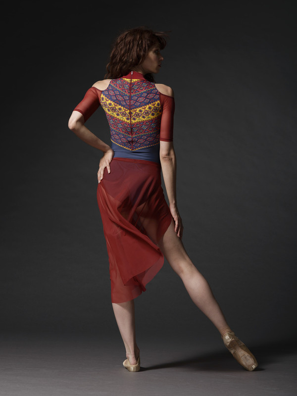 Asymmetrical Skirt Burgundy Mesh RTW