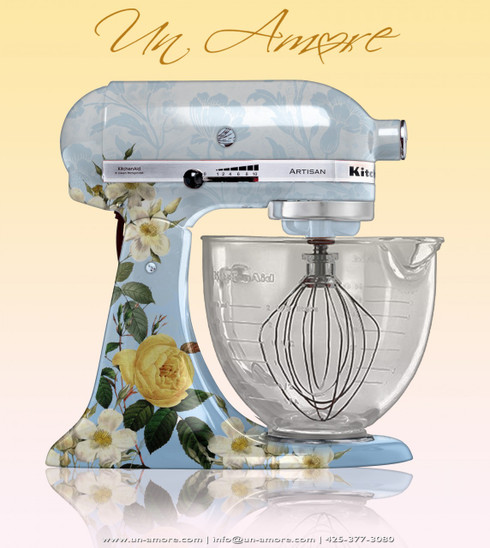 floral theme custom painted kitchenaid mixer. Black Bedroom Furniture Sets. Home Design Ideas