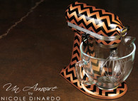 Copper and Black Chevron, hand pinstriped {Artisan Mixer Included}