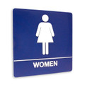 "8"" x 8"" Restroom Sign - ""WOMEN"", (4) Standard Colors"