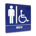 "8"" x 8"" Restroom Sign - ""MEN"" w/ISA, (4) Standard Colors"