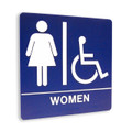 "8"" x 8"" Restroom Sign - ""WOMEN"" w/ISA, (4) Standard Colors"