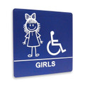"8"" x 8"" Restroom Sign - ""GIRLS"" w/ISA, (4) Standard Colors"