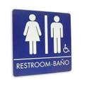 "8"" x 8"" Restroom Sign - ""RESTROOM/BANO"" w/ISA, (4) Standard Colors"