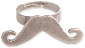 Burnished Metal Mustache Ring