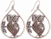 Antiqued Silver Owl Teardrop Earring