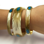 Peacock Feather Bangle Bracelets