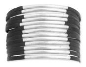 Black Leather & Silver Metal Bar Snap Cuff Bracelet