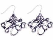 Silver Metal Octopus Earrings