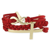 Infinity Suede & Gold Cross Bracelet - AVAILABLE IN 3 COLORS!