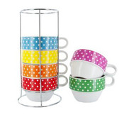 Latte XL Cup Tower Set - Mini Dots