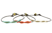 Twisted Seed Bead Leather Bracelet