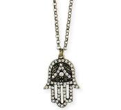 Gold & Crystal Hamsa Hand Necklace