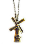 Antiqued Gold Windmill Long Necklace