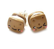 Handmade S'Mores Stud Earrings