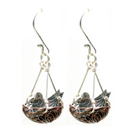 Sweet Bird Sterling Silver Nature Inspired Robin's Nest Earrings: Fair Trade