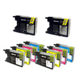 2 Sets of 4 and 2 Yellow Compatible Brother LC1240  Ink Cartridges (10 inks)