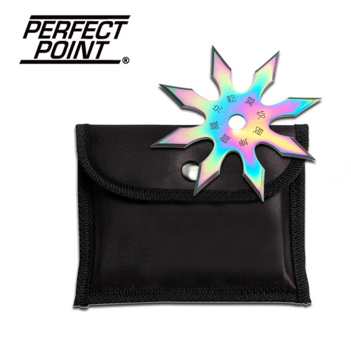 "Perfect Point 4"" 8- Point Ninja Throwing Star- Ti-Coated Rainbow Finish"