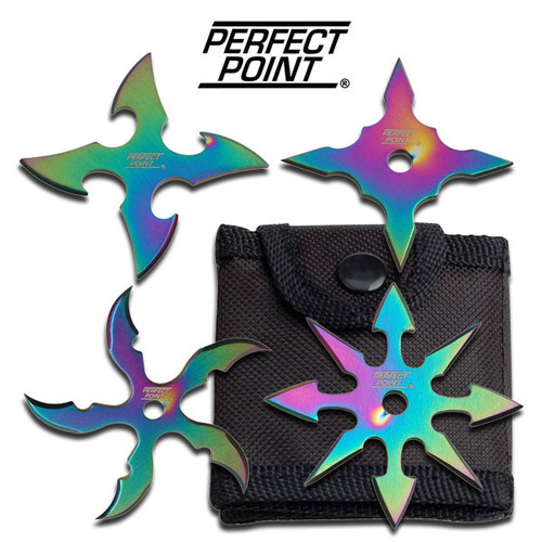 "Perfect Point ""Rainbow"" 4 piece throwing star set"