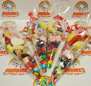 Sweet Cone Bags, filled with pick n mix sweets