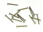"Machine Screw Hex head, thread M1.2 pitch .25mm (thread also called 1.2 UNM) head (ACF) measurement 2.5mm, Length shank 11.7mm and overall length is 12.5mm material Stainless steel, price for 100 pieces. Finish color natural stainless steel ""silver"" and polished.  The screw head has a slight doom and is polished."