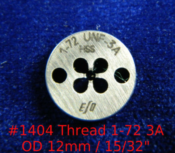 """Thread 1-72 UNF-3A; Precision Thread die for threading round stock diameter of die is 12mm / 15/32"""".  Made of High speed Steel then hardened made in Switzerland."""