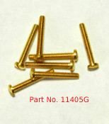 "Machine Screw special, thread M1.4 pitch .30mm (thread also called 1.40 UNM) head diameter 2.5mm, threaded length 9.7mm / 3/8"" overall length 10.5mm material nickel silver copper alloy superior to brass, price for 100 pieces, finish color 24K Gold"