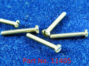 "Machine Pan Head Screw special, thread M1.4 pitch .30mm (also called 1.40 UNM thread) Head diameter 2.5mm, threaded length 9.7mm or 3/8"" overall length 10.5mm material nickel silver copper alloy superior to brass, price for 100 pieces, finish color silver"