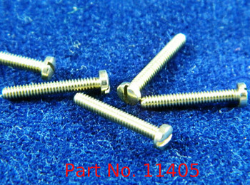 """Machine Pan Head Screw special, thread M1.4 pitch .30mm (also called 1.40 UNM thread) Head diameter 2.5mm, threaded length 9.7mm or 3/8"""" overall length 10.5mm material nickel silver copper alloy superior to brass, price for 100 pieces, finish color silver"""
