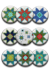 Feathered Star Collection of 9 Pins or Magnets (DropShip)