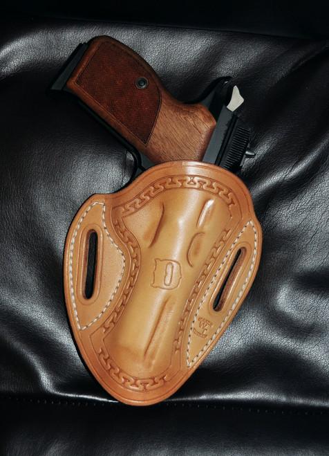 Tucker Pancake Holster, Natural Leather, Egyptian Key Border