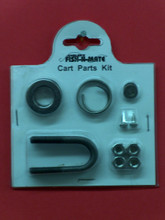 CART PARTS ACCESSORY KIT. REPLACEMENT PARTS FOR EITHER THE LARGE OR JR. CARTS. ALL SATINLESS STEEL (4) 5\8&quot; FLAT WASHERS,(2) CIRCLE AXLE RINGS,(4) 1\4&quot; U-BOLT WASHERS,(4) 1\4&quot;LOCK NUTS,(2) 1\4&quot; U-BOLTS,(2) # 6 CREWS FOR BAIT BASKET.