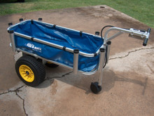 CART LINER SHOWN WITH NEW POWER FISH N MATE CART. FITS INSIDE YOUR LARGE CART FOR CARRYING SMALL ITEMS THAT MIGHT OTHERWISE FALL THROUGH THE FRAME. VECRO CLOSURES EASILY ATTACHES AND EASILY REMOVES THE LINER. DRAIN HOLE PROVIDED