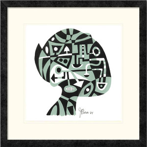 Brain Map | Jim Flora | Ebony frame