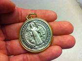 XL Saint Benedict Medallion GOLD PLATED Edge