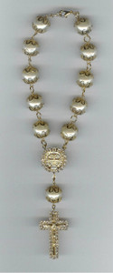 "Exquisite 15"" CAR ROSARY with Gold Plated Saint Benedict Medal with 46 sparkling Diamond Rinestones and large, capped faux pearl from Tahiti - all specially blessed!!"