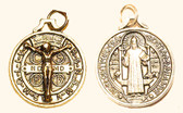 UNIQUE, VERY EXQUISITE GOLD PLATED CRUCIFIX BEAUTIFULLY FUSED ONTO GOLD PLATED, BENEDICTINE BLESSED, SAINT BENEDICT MEDAL WHICH WAS ALSO SPECIAL BLESSED - EXCLUSIVELY OFFERED THRU MARY'S WAY!