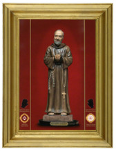"""Padre Pio exuding blood-like substance, tears, and oil as signs that he will answer your prayers!!  Gold Leaf on Canvas Texture in Traditional Gold Leaf Frame! 7"""" x 9"""" - 67% Off!  [SAVE $100.00]!"""